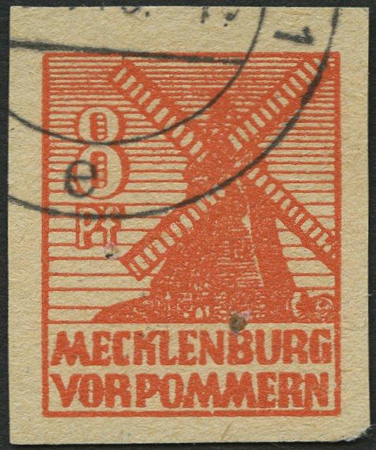 MECKLENBURG-VORPOMMERN 34yb o, 1946, 8 Pf. rotorange, graues Papier, Pracht, gep - Deutschland - Widerrufsrecht für Verbraucher (Verbraucher ist jede natürliche Person, die ein Rechtsgeschäft zu Zwecken abschließt, die überwiegend weder Ihrer gewerblichen noch ihrer selbstständigen beruflichen Tätigkeit zugerechnet werden können - Deutschland