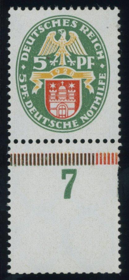 Dt-Reich-1928-5-Pf-Nothilfe-Wz-stehend-Unterrandstueck-postfrisch-rechts