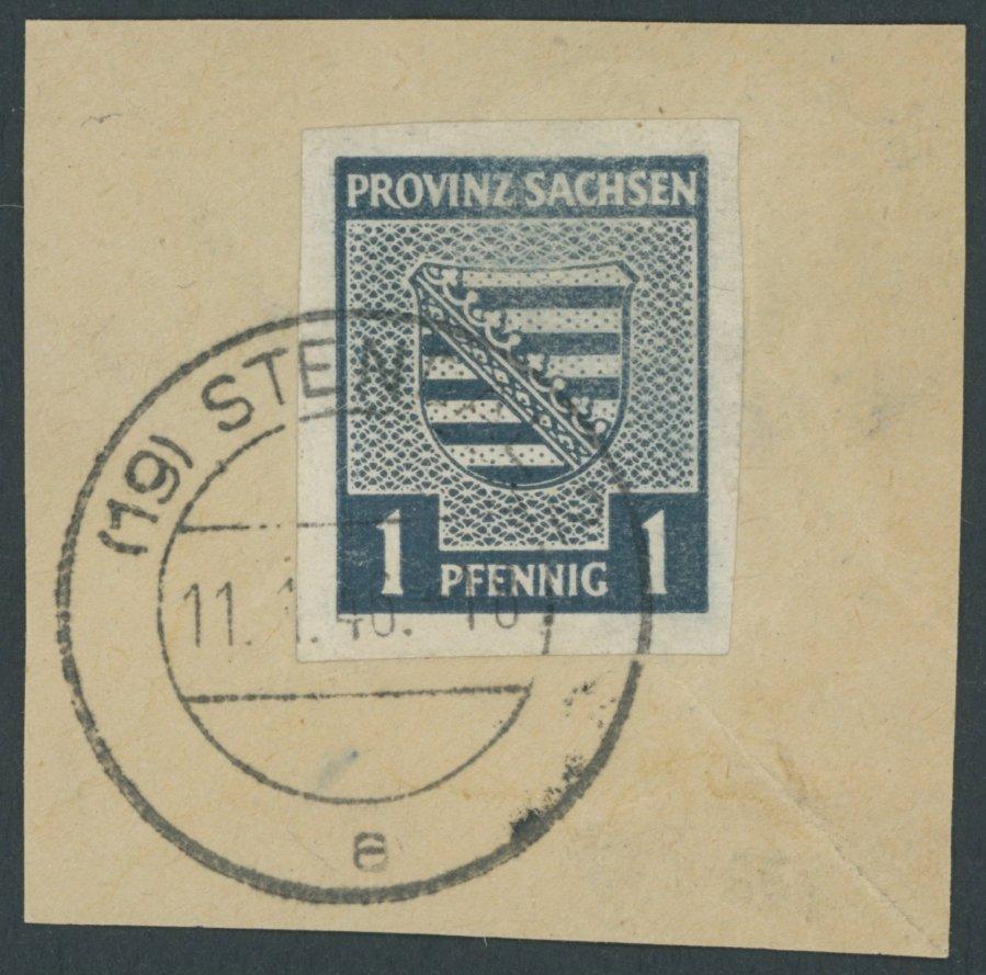 PROVINZ SACHSEN 1945, 1 Pf. schwärzlichgrünlichblau, Wz. 1Y, auf Briefstück, die