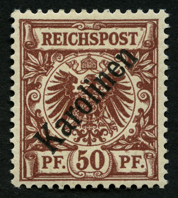 KAROLINEN-1899-50-Pf-Diagonaler-Aufdruck-Kabinett-gepr-Bothe-mit-Befund-Mi