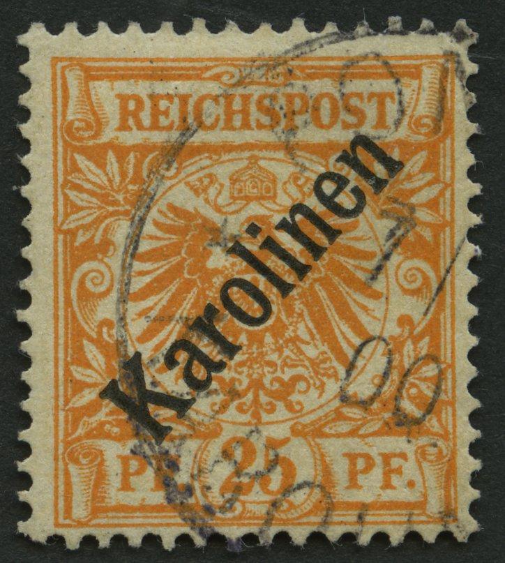 KAROLINEN-1899-25-Pf-Diagonaler-Aufdruck-Stempel-PONAPE-Pracht-FA-Jaeschke-L
